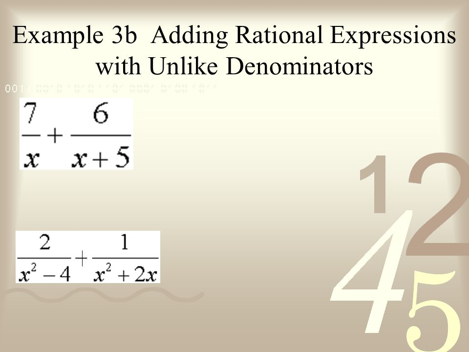 Example 3b Adding Rational Expressions with Unlike Denominators