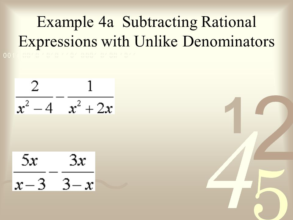 Example 4a Subtracting Rational Expressions with Unlike Denominators