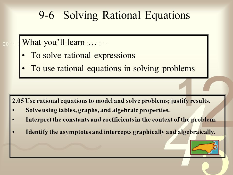 9-6 Solving Rational Equations