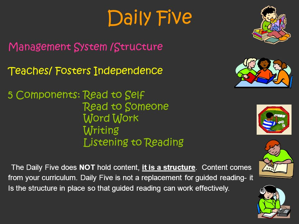Daily Five Management System /Structure Teaches/ Fosters Independence