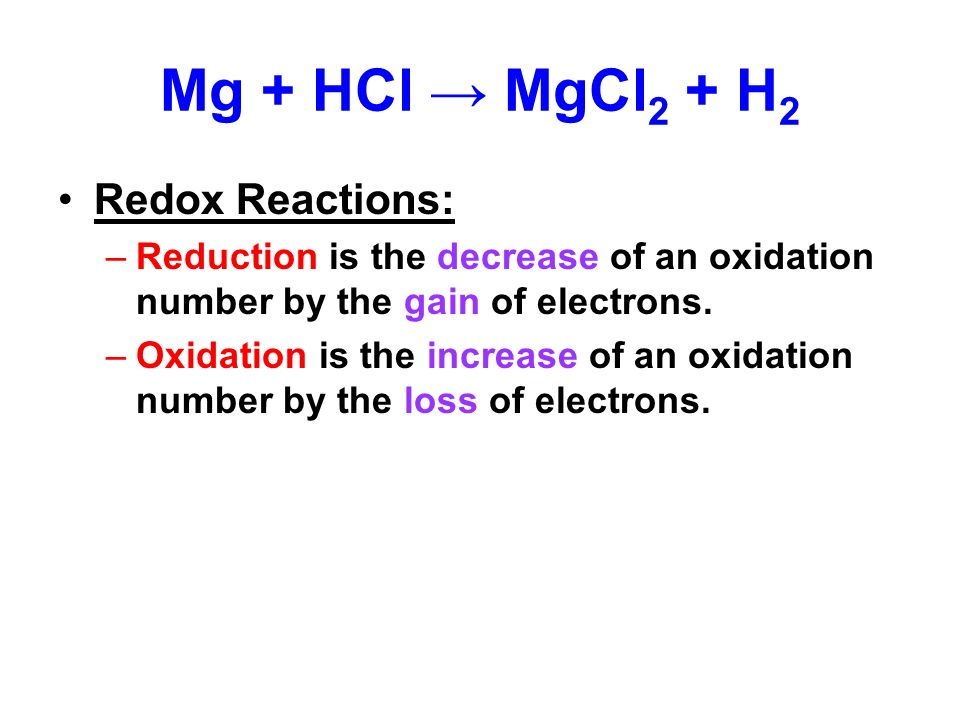 oxidation reduction reaction magnesium How to find oxidation numbers, and a brief introduction to oxidation-reduction (redox) reactions.