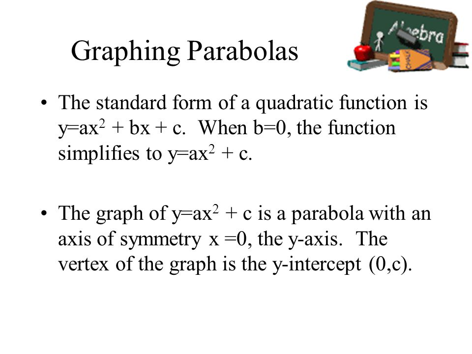 Graphing ParabolasThe standard form of a quadratic function is y=ax2 + bx + c. When b=0, the function simplifies to y=ax2 + c.