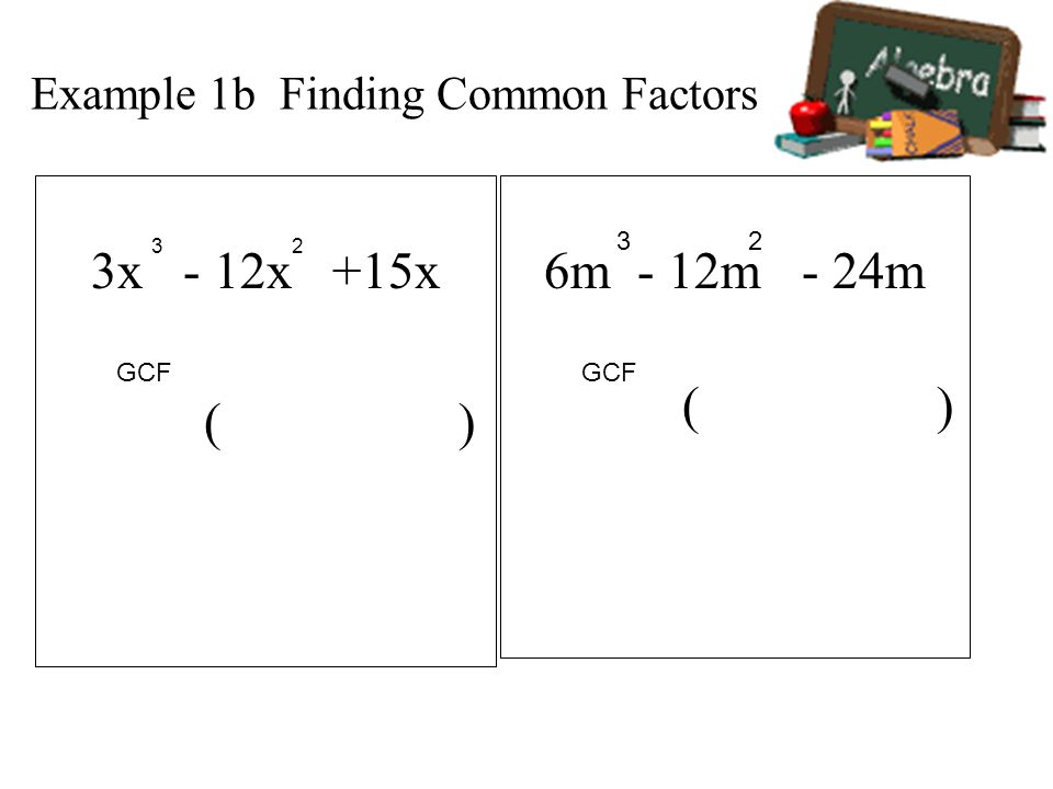 Example 1b Finding Common Factors