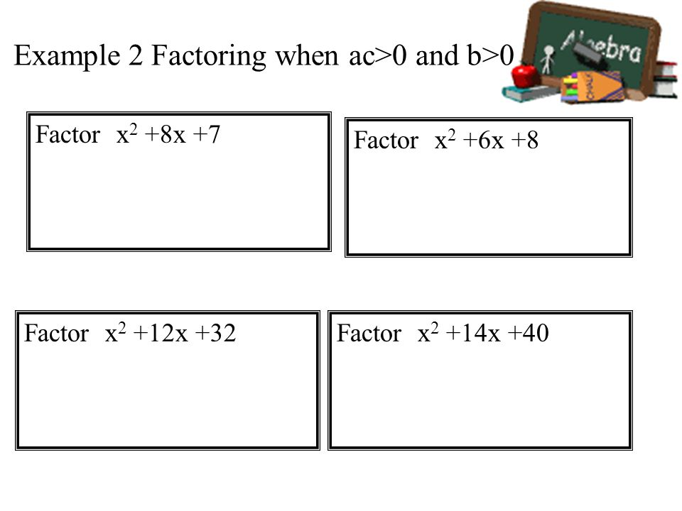 Example 2 Factoring when ac>0 and b>0