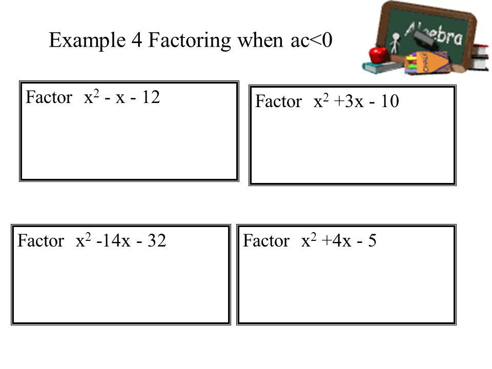 Example 4 Factoring when ac<0
