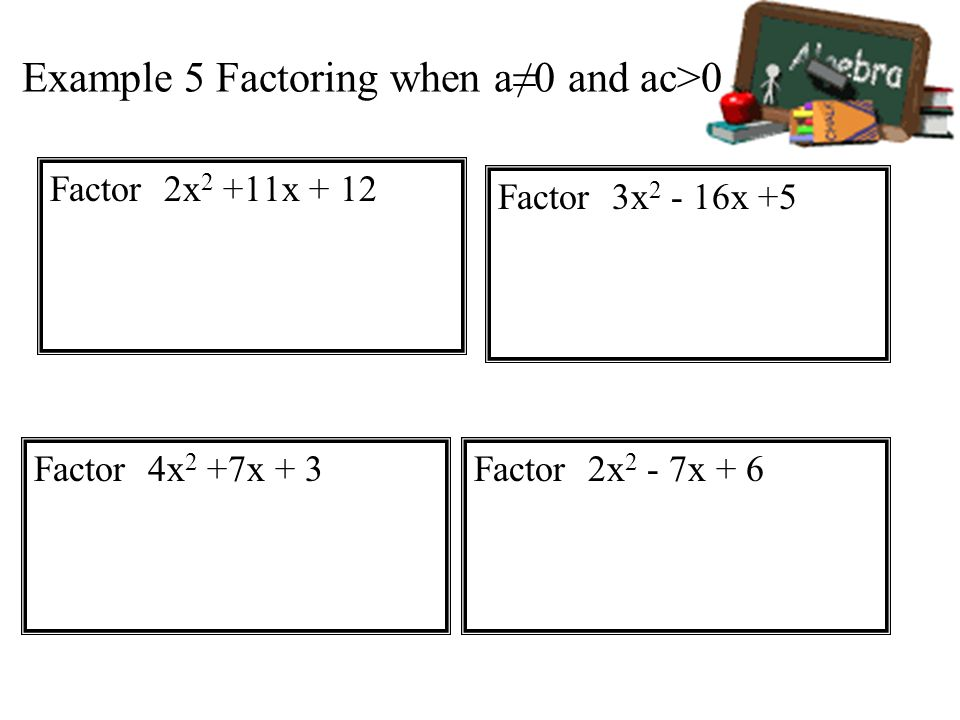 Example 5 Factoring when a≠0 and ac>0