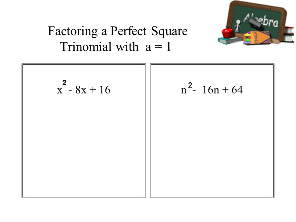 Factoring a Perfect Square Trinomial with a = 1