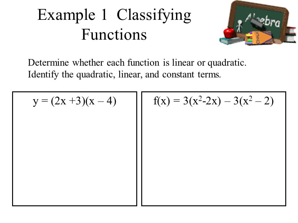Example 1 Classifying Functions