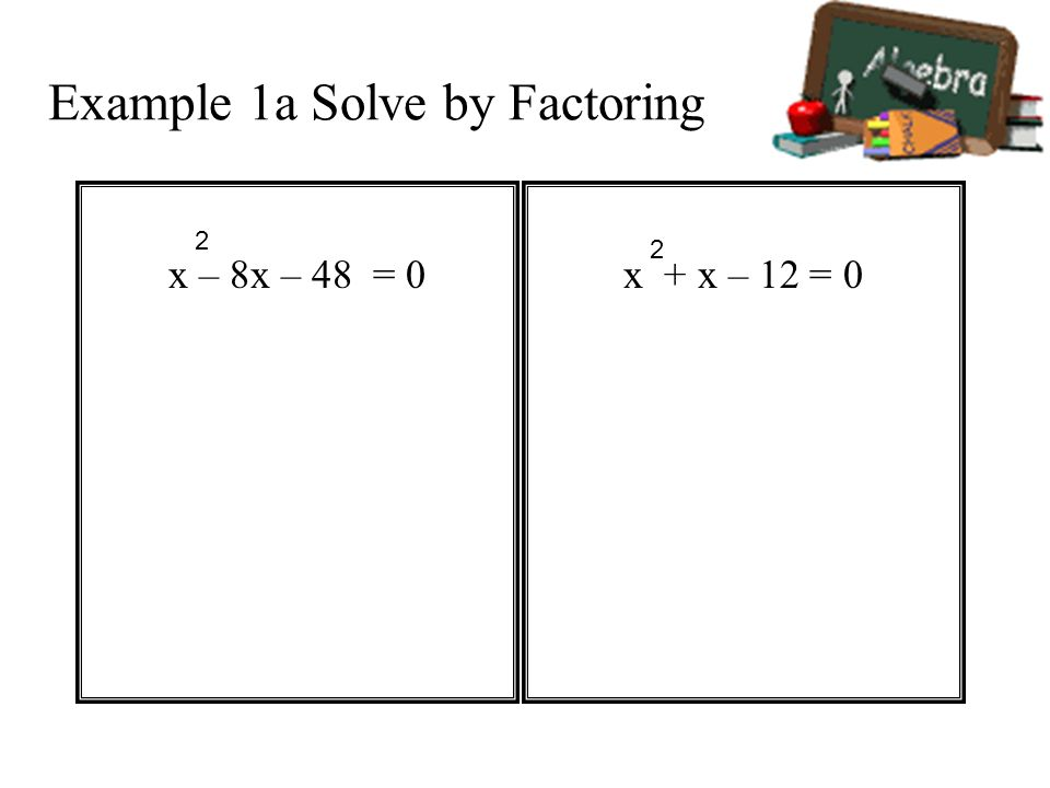 Example 1a Solve by Factoring