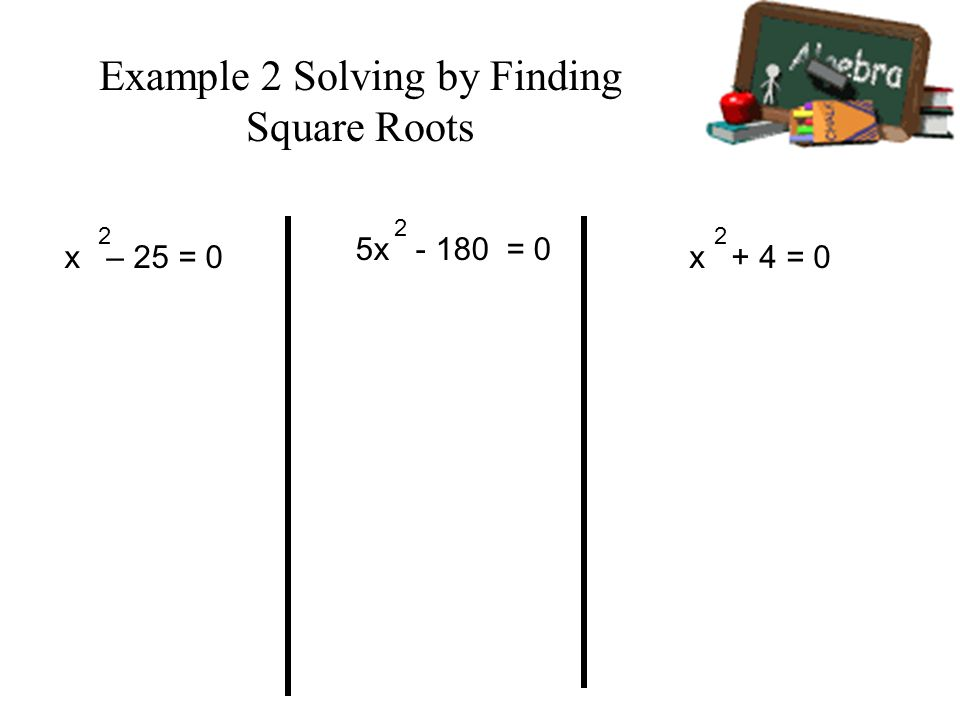 Example 2 Solving by Finding Square Roots
