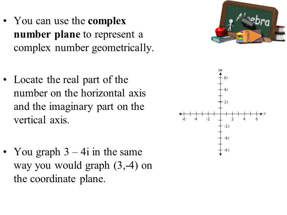 You can use the complex number plane to represent a complex number geometrically.