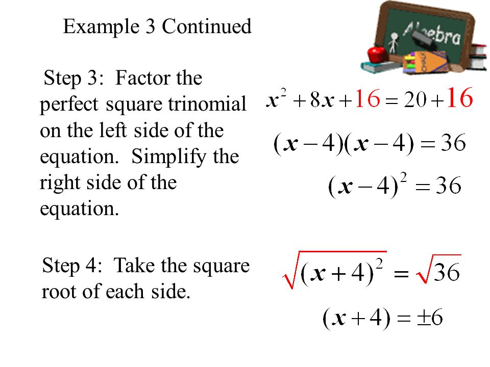 Example 3 Continued Step 3: Factor the perfect square trinomial on the left side of the equation. Simplify the right side of the equation.