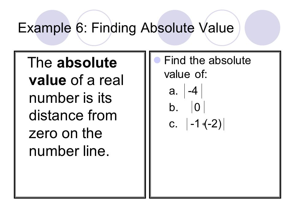 Example 6: Finding Absolute Value