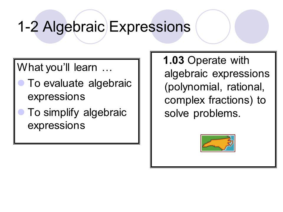 1-2 Algebraic Expressions