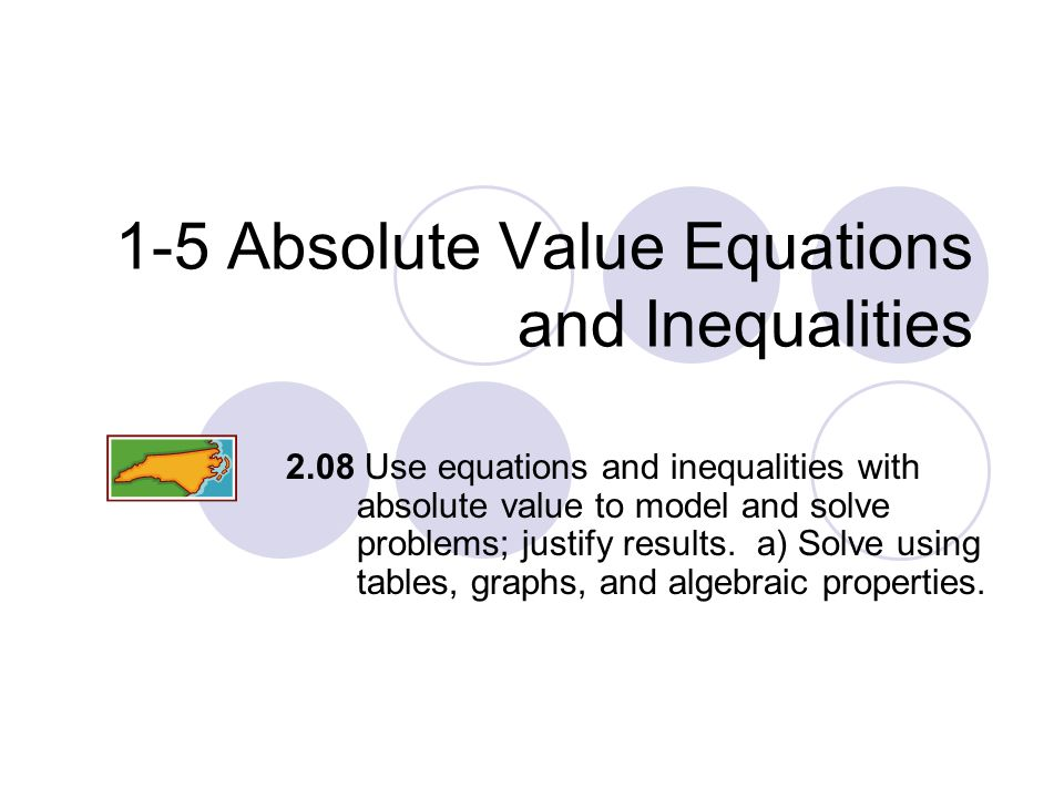 1-5 Absolute Value Equations and Inequalities