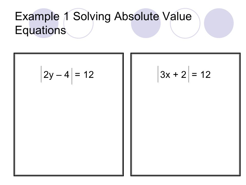 Example 1 Solving Absolute Value Equations