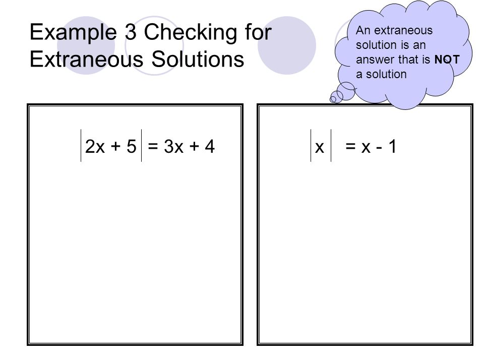 Example 3 Checking for Extraneous Solutions