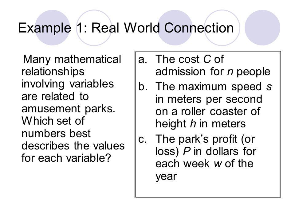 Example 1: Real World Connection