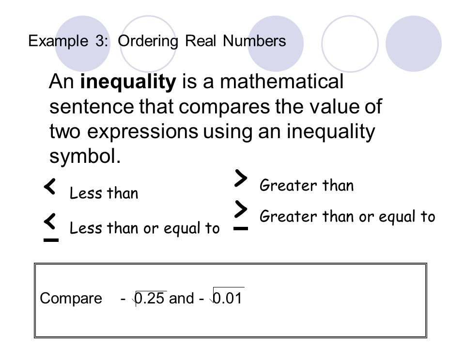Example 3: Ordering Real Numbers