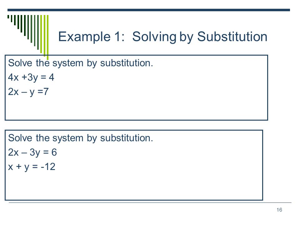 Example 1: Solving by Substitution
