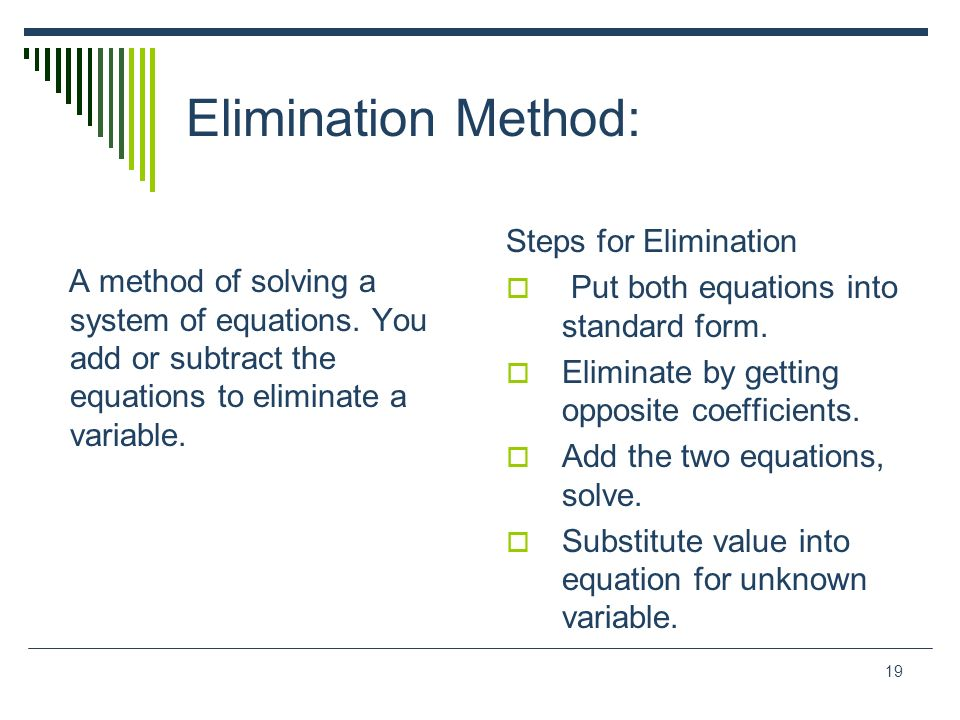 Elimination Method: Steps for Elimination
