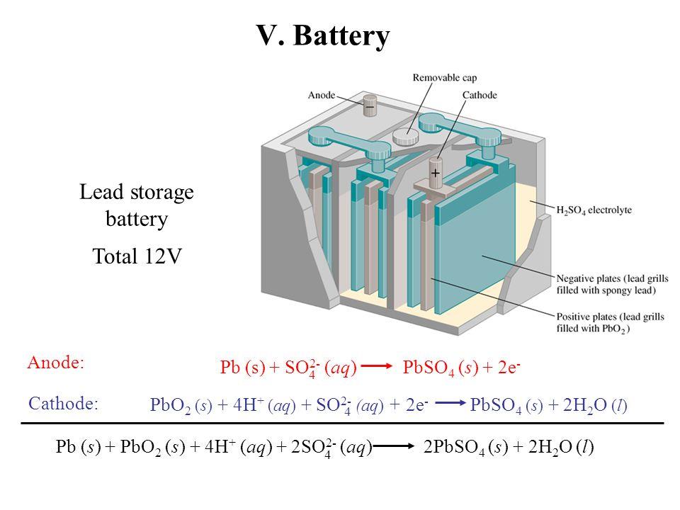 V Battery Lead Storage Total 12v Anode
