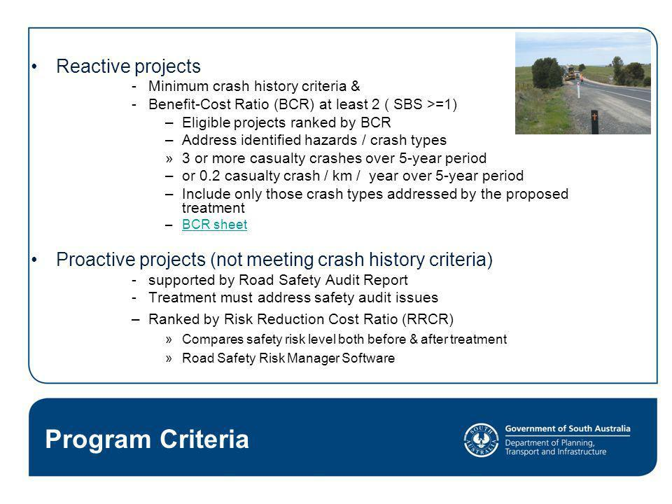 Program Criteria Reactive projects