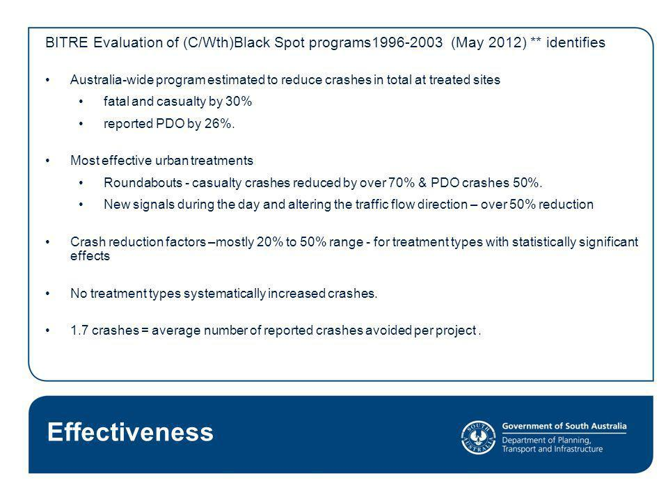 BITRE Evaluation of (C/Wth)Black Spot programs1996-2003 (May 2012)