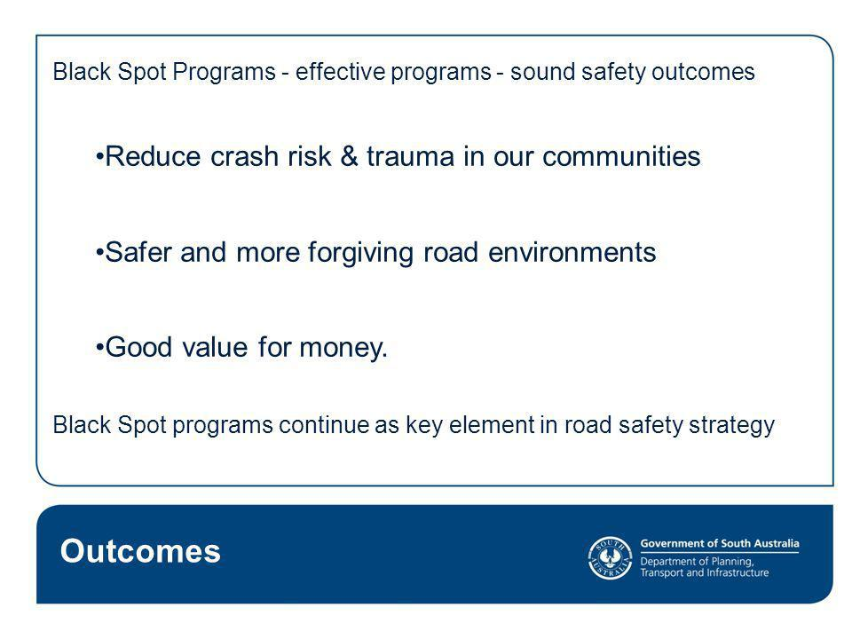 Outcomes Reduce crash risk & trauma in our communities