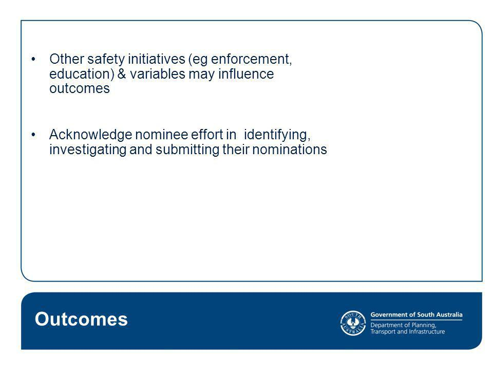 Other safety initiatives (eg enforcement, education) & variables may influence outcomes