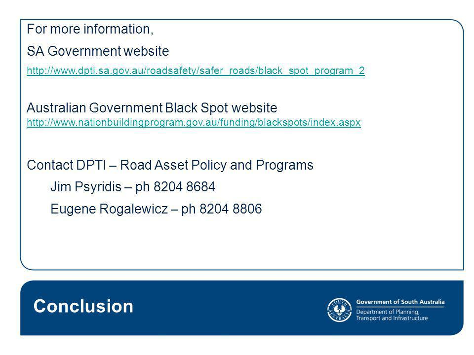 Conclusion For more information, SA Government websiteO