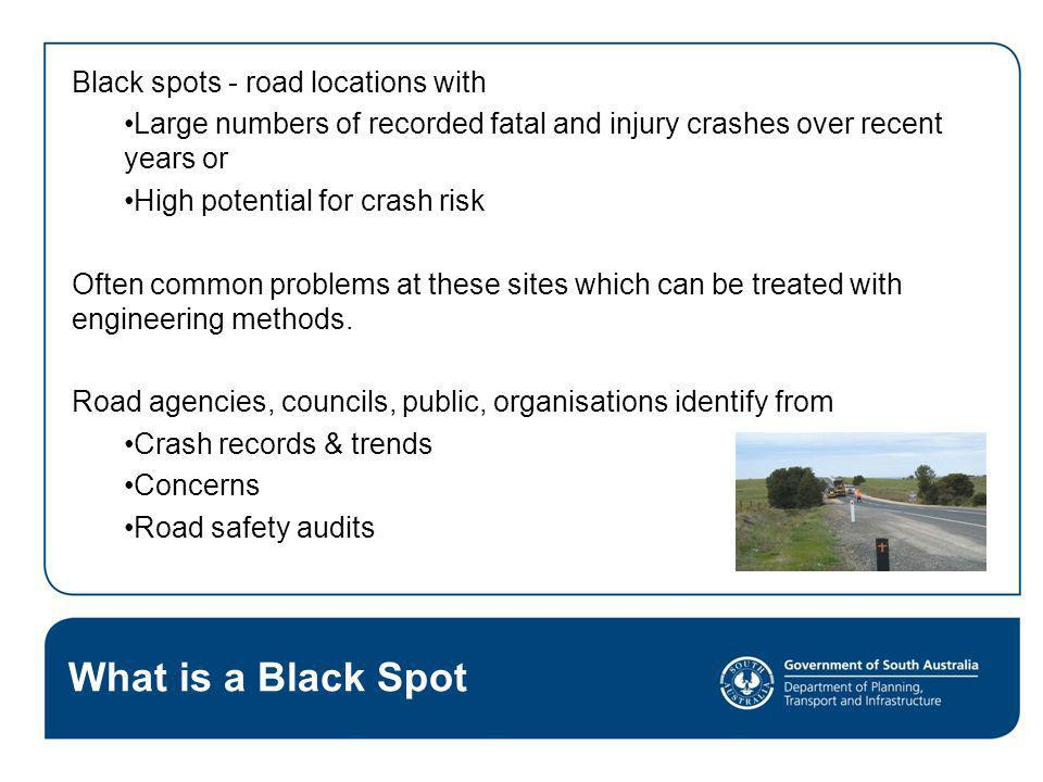 What is a Black Spot Black spots - road locations with
