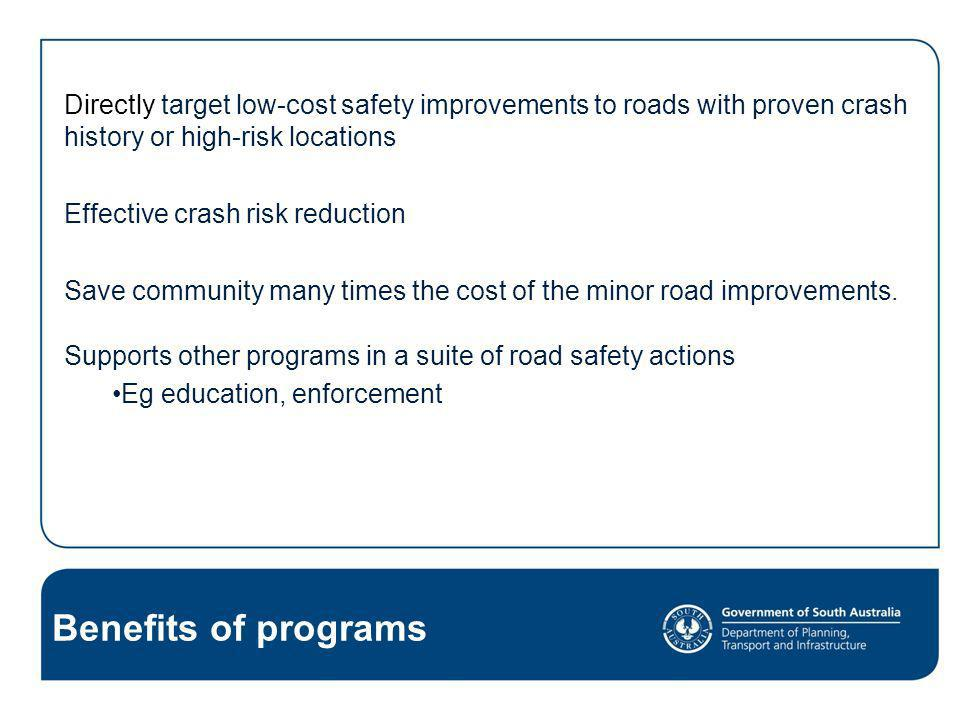 Directly target low-cost safety improvements to roads with proven crash history or high-risk locations