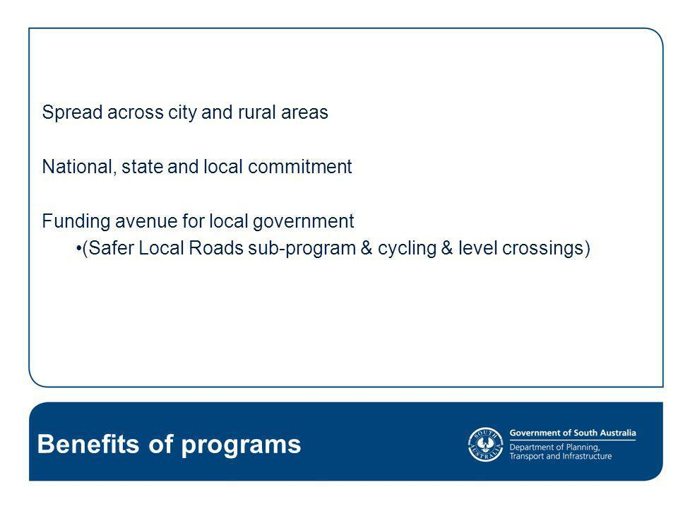 Benefits of programs Spread across city and rural areas