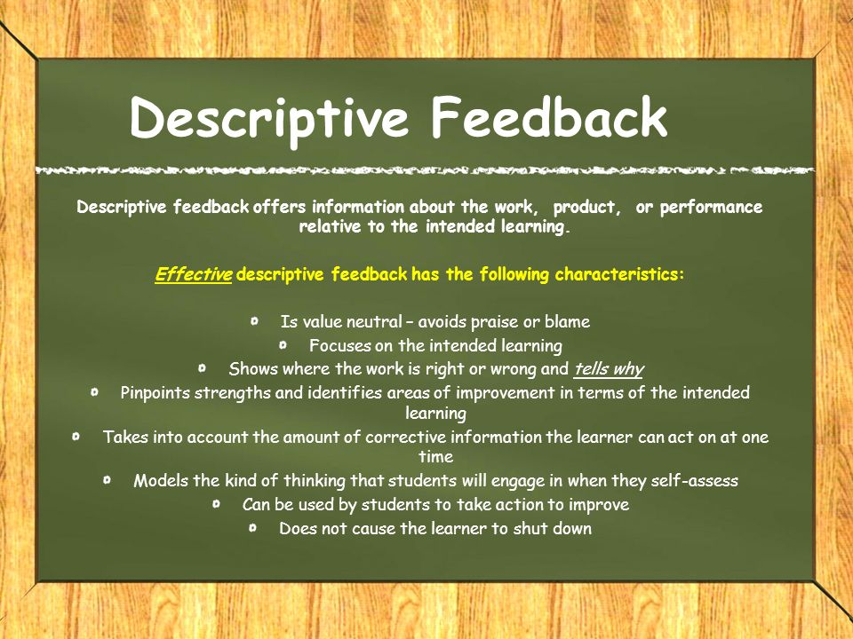 module 4  analyzing evidence and descriptive feedback