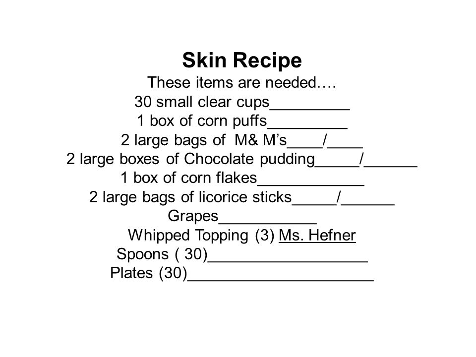 Skin Recipe These items are needed…. 30 small clear cups_________