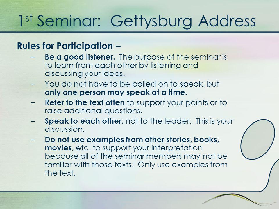 1st Seminar: Gettysburg Address