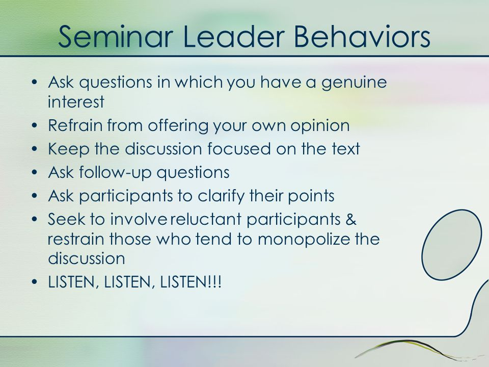 Seminar Leader Behaviors
