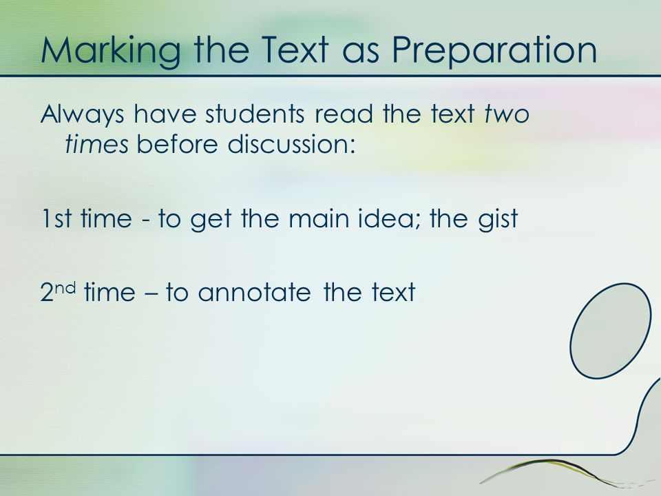Marking the Text as Preparation