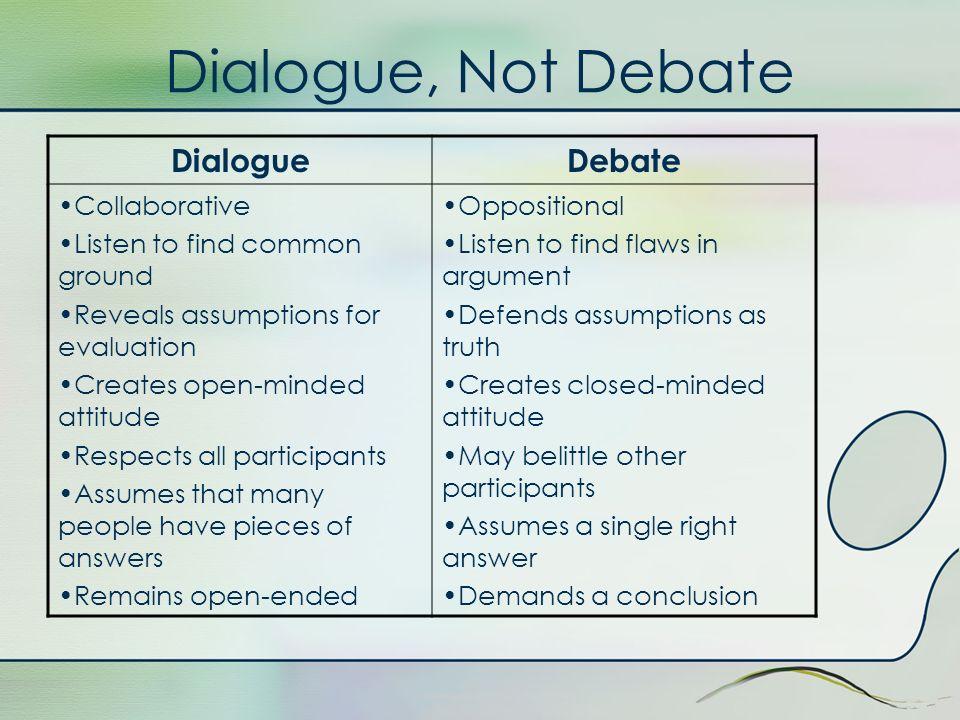 Dialogue, Not Debate Dialogue Debate Collaborative