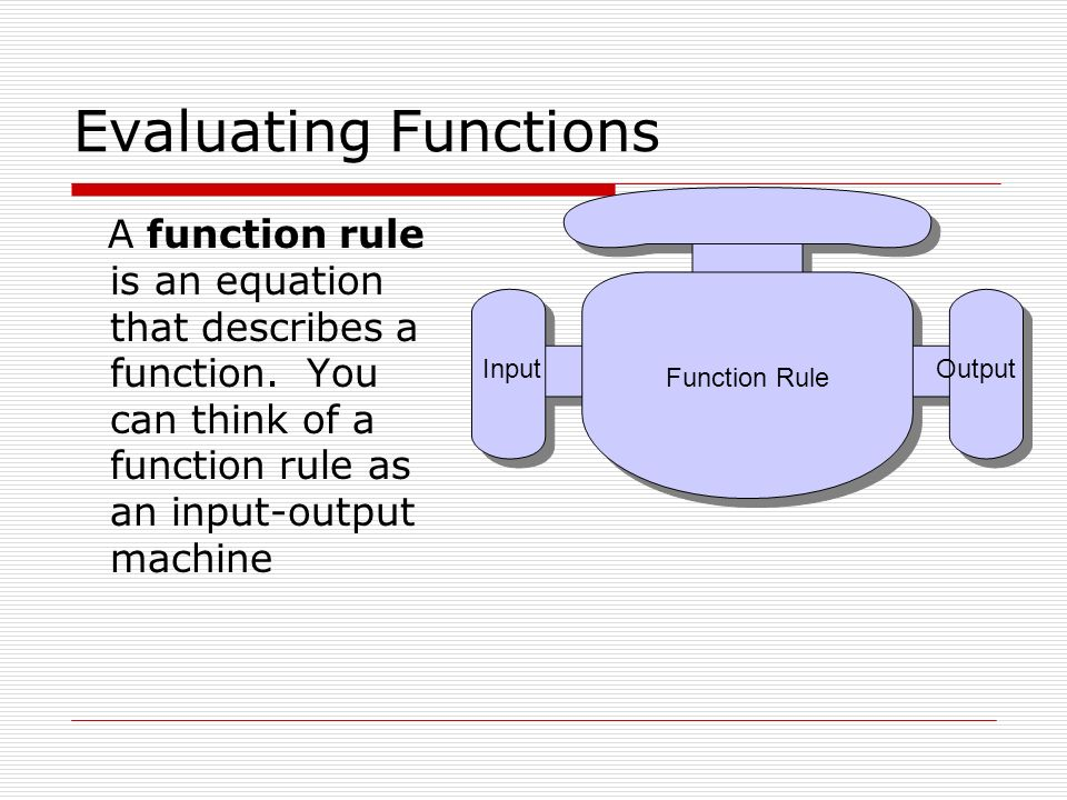 Evaluating Functions Function Rule.