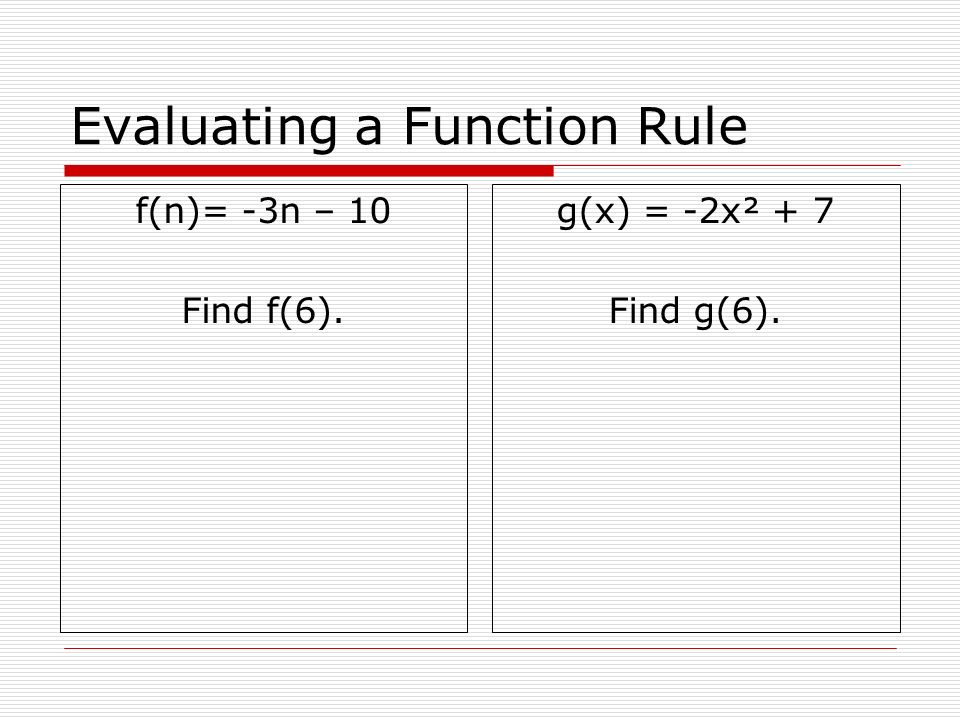 Evaluating a Function Rule