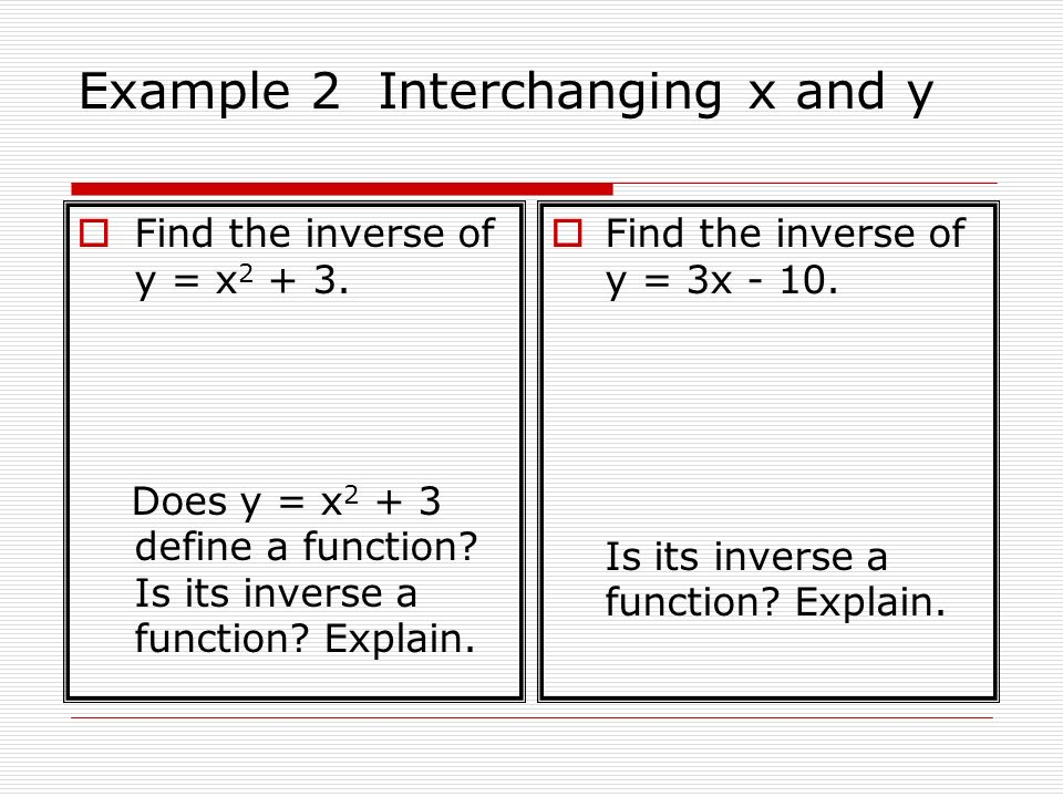 Example 2 Interchanging x and y