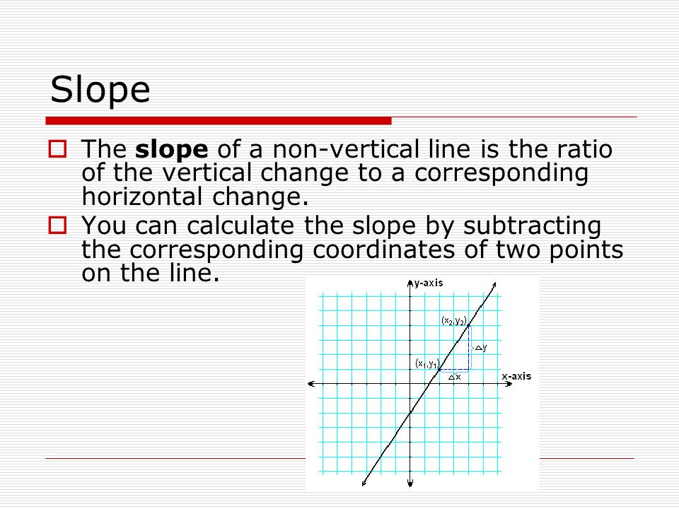 Slope The slope of a non-vertical line is the ratio of the vertical change to a corresponding horizontal change.