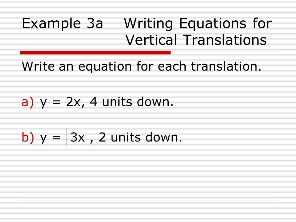 Example 3a Writing Equations for Vertical Translations