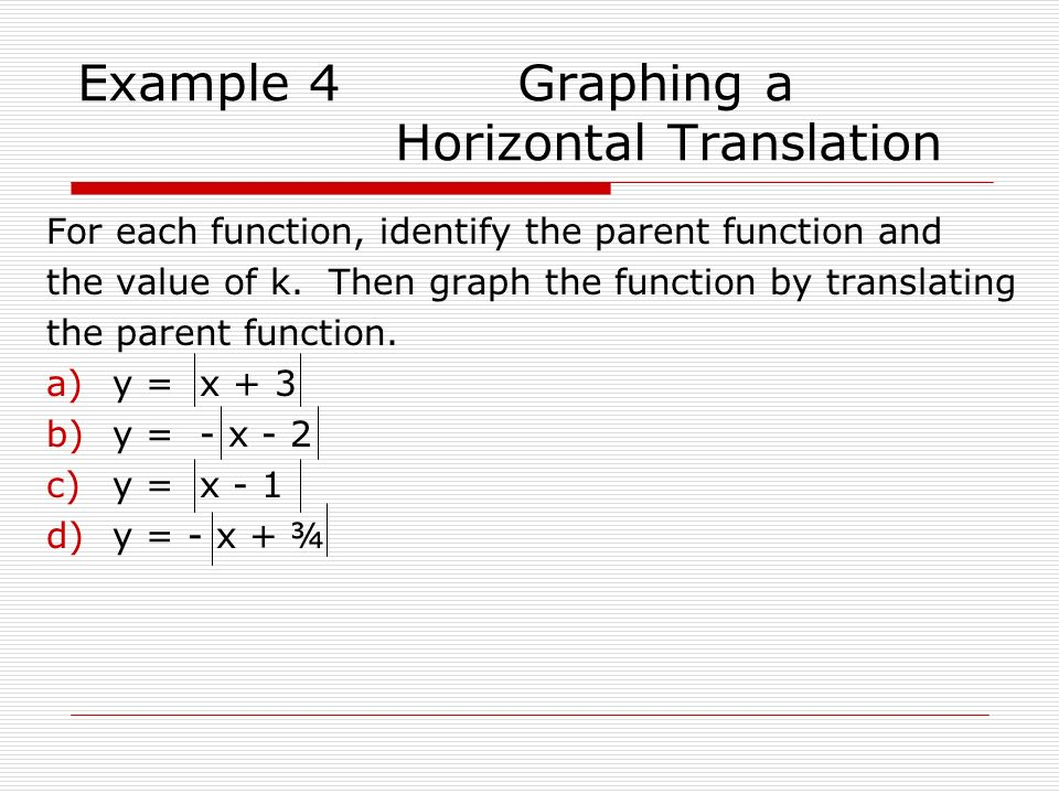Example 4 Graphing a Horizontal Translation