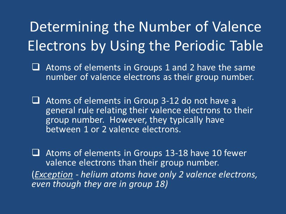 Determining the Number of Valence Electrons by Using the Periodic Table