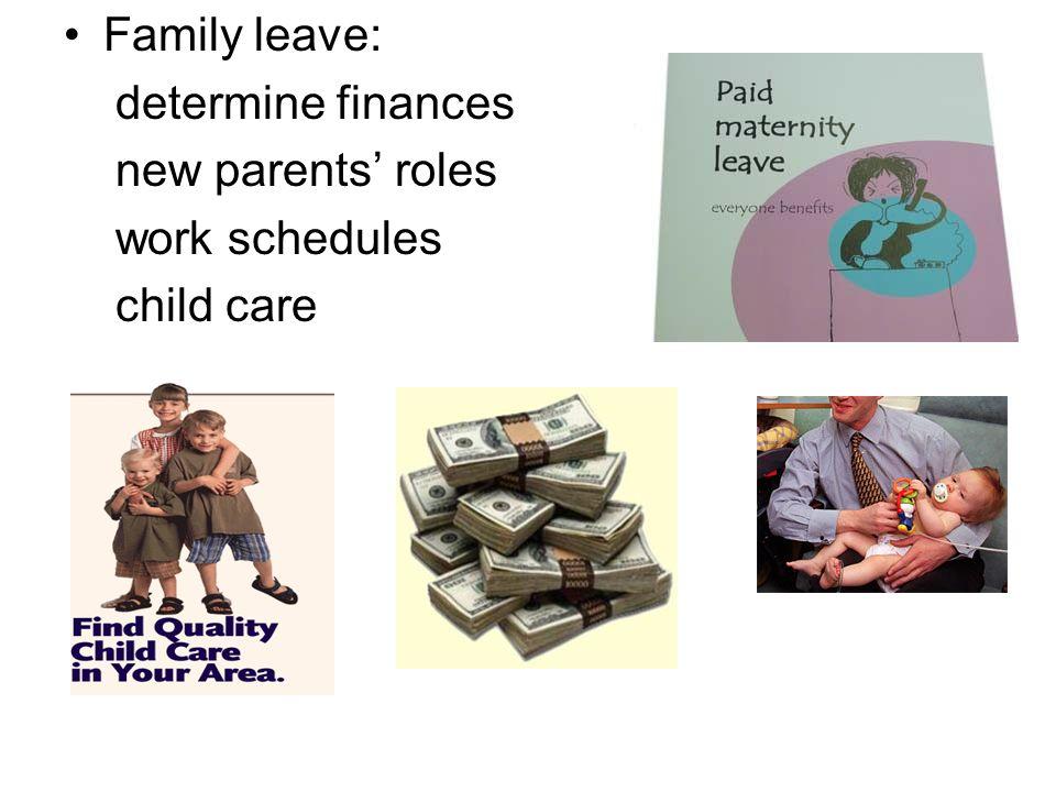 Family leave: determine finances new parents' roles work schedules child care