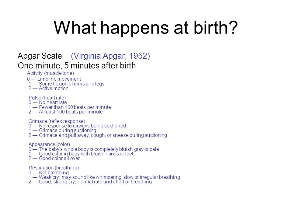 What happens at birth Apgar Scale (Virginia Apgar, 1952)