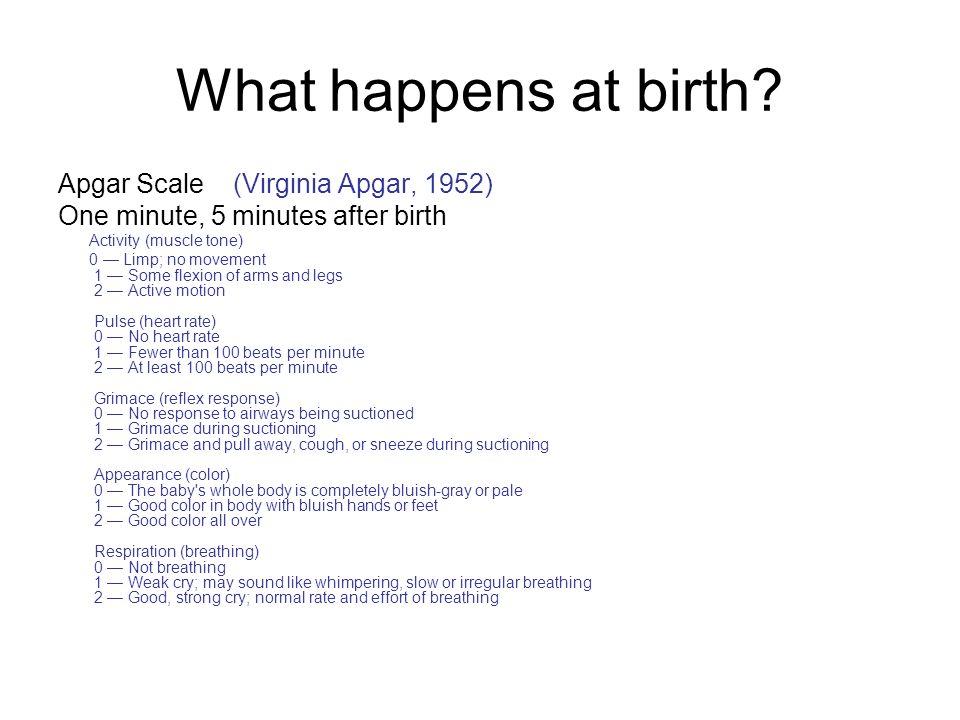 What happens at birth Apgar Scale (Virginia Apgar, 1952)